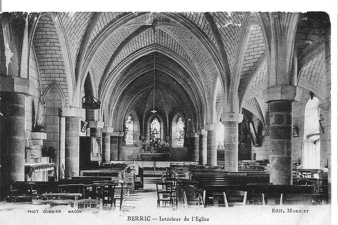Berric interieur de l eglise 1930 cartes postales du for Interieur 1930